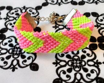 Neon Chevron Friendship Bracelet, Hot Pink, Bright Yellow