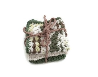 Dishcloth set  -  Green, Brown, Yellow, Ecru / Off white Ombre - Sage Green - Ecru- Bath Set - Shell - Crochet Cotton