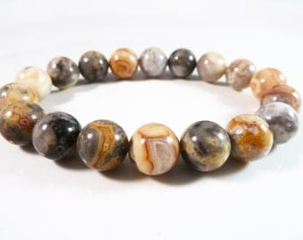 Crazy Lace Agate Stretch Bracelet 10mm Smooth Round Gemstone Beads