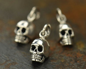 1x~Tiny Skull Sterling Silver Charm