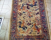 Vintage Persian India Hunting Scene carpet small 2 x 4' Tapestry