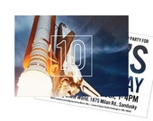 Space Birthday Party Invitations: Space Shuttle Lifting Off -- Custom Printable or Printed