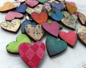 12 LIL Colorful Handmade HEARTS - Natural Sustainable Wood - Lovely, Unique Embellishments