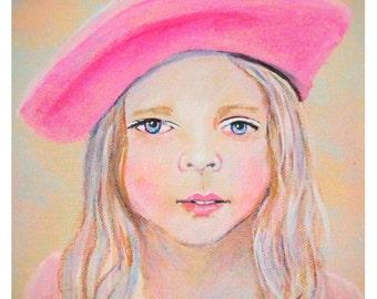 French Girl 8 x 10 Original Fine Art Print, Paris, France, -Children's Decor, Girl, Room, Kid's Room , Pink, Pastel, Girl's art, bedroom