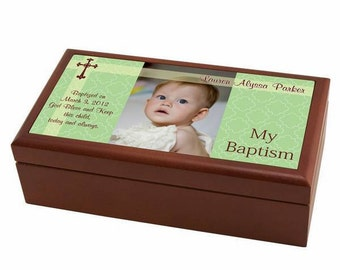 Personalized Baptism Keepsake Box with Photo