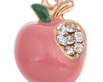 4pc 16x12mm apple shape enamel with rhinestones pendant -10153