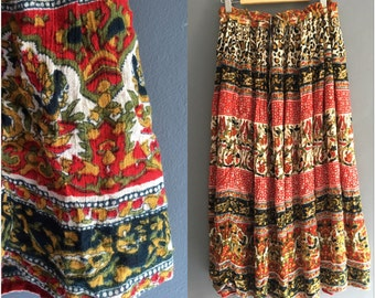 70s Indian Crinkle Cotton Maxi Skirt