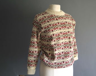 80s Wool Snowflake Sweater Small - Medium 36""