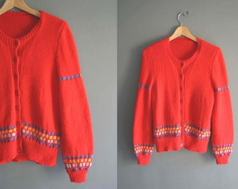 Soft 80s Red Handknitted Cardigan
