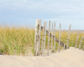 Cape Cod Beach Photography, Coastal Wall Art, Sand Dunes Photo, Dune Grass and Beach Fence, Seashore Wall Art, Cottage Decor, Living Room