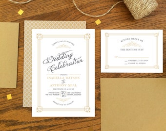 Vintage Wedding Invitation & RSVP Card - 1920s Gatsby Old Fashioned Style - Printable DIY