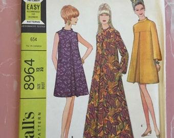 1967 McCall's Sewing Pattern 8964 Mod Dress Uncut Factory Fold Size 12 32 Bust