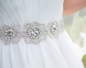 Beaded and Rhinestone Floral wedding sash / belt, Crystal rhinestone sash
