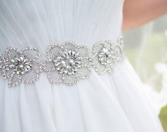 Beaded and Rhinestone Floral Wedding Sash / Belt, Crystal Rhinestone Flower Sash