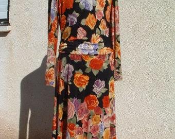 free shipping LEONARD jersey silk  dress  made in France circa 1980 free shipping