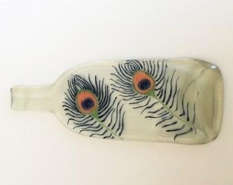 Hand Painted Tray, Flattened Wine Bottle, Custom Cheese Tray, Peacock Decor,