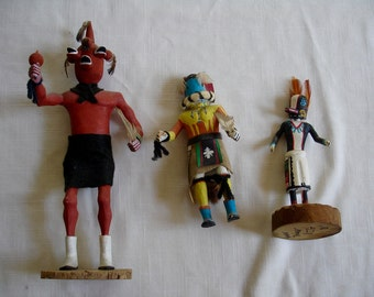 Set of Three Vintage Native American Kachinas  Hand Carved Solid Wood Hand Painted - 1980's Hopi Augustine Komalestewa Mahu Kachina Doll