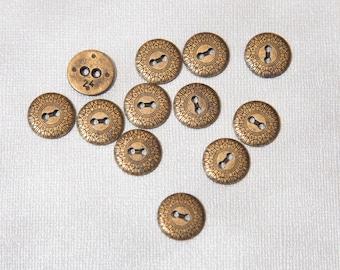 "15 Vintage 5/8"" Dark Antiqued Brass Tone Metal Buttons. 2 Holes. Mandella Style Design. Heavy Metal. Sew Through Metal Buttons. Item 3871M"