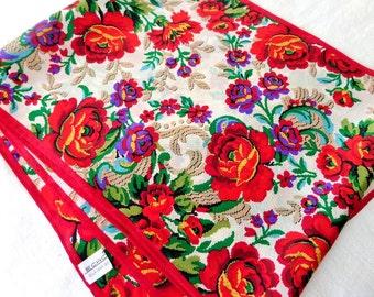 Vintage Echo Silk Scarf Red Roses Japan