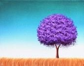 Mid Century Modern Art Landscape Painting, Minimalist Art Tree Painting, Original Oil Painting on Canvas, Purple and Teal Wall Art,  8x10