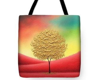 Gold Tree Tote Bag, Majestic Landscape Shoulder Bag, Red and Gold Handbag, Tree Art Purse, Yoga Bag, School Bag, Large Canvas Tote, Bookbag