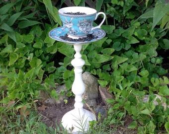Pedestal Tea Cup Bird Feeder - Aqua Blue & White - Garden Art - Bird Lover