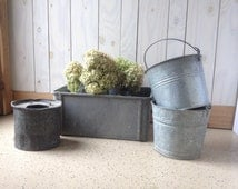 Galvanized Metal (4) Pots.  Lot of 4 Galvanized containers. Spring Planters.