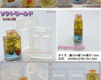 SALE 3 dimensional Bottle of perfume in hexagon / square / hexagon shape flexible mold for resin and clay