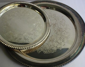 "2 Vintage Silver Plate Round Embossed Trays 17"" and 12""/Floral Embossed Silver Plate Serving Trays/Rogers Silver Plate"