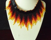 Cheryl123 Fire Fringe Necklace Set