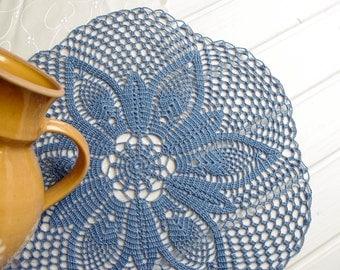 Large crochet doily Lace doilies Table decoration Blue crocheted doilies Blue cotton lace doily Blue tablecloth