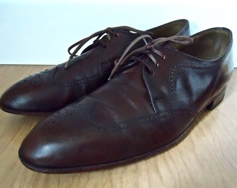 Vintage Bally Brown Wingtips / Oxford leather shortwing short wing dress shoes / men's 9.5 D
