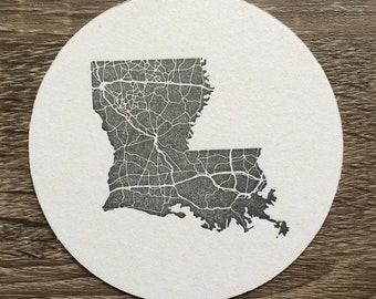 Louisiana Letterpress Coaster. Set of 10 Louisiana Highway Map Drink Coasters. Perfect for Wedding or Party Favors. Black and White.