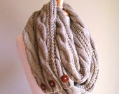 SALE Infinity Circle Loop Taupe Scarf Braided Cable Light Knit Neckwarmer Scarves with Buttons Fall Winter Women Girls Accessories