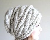 SALE Slouchy Beanie Slouch Hats Oversized Baggy Gray cabled hat  womens Fall Winter accessory Grey Heather  Hand Made Knit