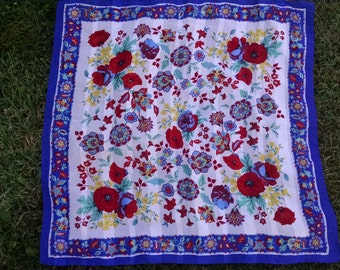 Royal Bue and White  Floral Scarf