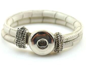 White PU  Leather Snap Bracelet