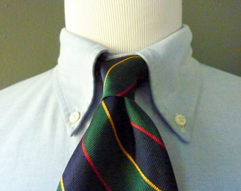 DEADSTOCK / NOS Vintage jos. A. Bank Collection All Silk Multi-Colored Regimental Repp Striped Trad / Ivy League Neck Tie.  Made in USA.