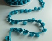 Teal Green Small Baby Pom Pom Bobble Trim 8mm wide pom poms - by the metre