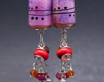 Pretty in Pink * lampwork Earrings including Sterling Silver and Swarovski Chrystal beads - Glass Art by Michou P.Anderson