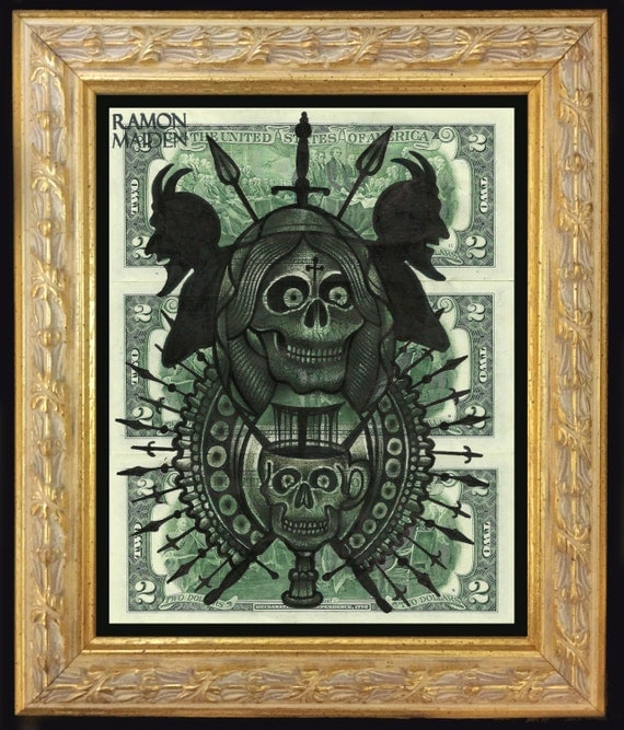 Original framed painting on 2 dollars bills