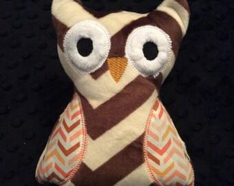 Brown Chevron Minky Owl, CLEARANCE SALE