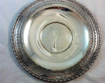 "Vintage Rogers & Bro Silverplated Platter 12"" round 1721 Serving Tray"