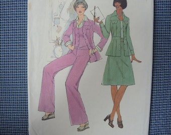 vintage 1970s simplicity sewing pattern 7393 misses unlined jacket vest pants and skirt size 6 and 8