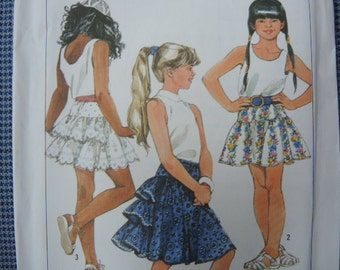 vintage 1980s Simplicity sewing pattern 9123  girls skirt in two lengths size large 12-14 UNCUT