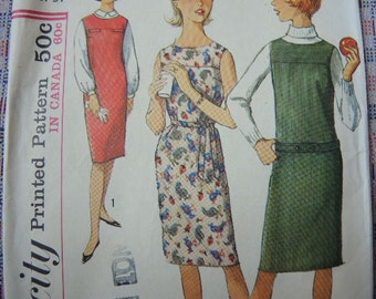 vintage 1960s simplicity sewing pattern 5070 sub teen one piece dress or jumper size 12s