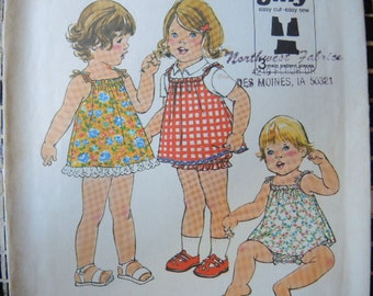 vintage 1970s simplicity sewing pattern 8048 toddler jiffy dress or jumper and bloomers uncut size 1