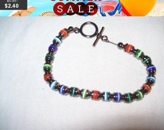 SALE 60% Off vintage cats eye bead bracelet, hematite bracelet, fashion bracelet