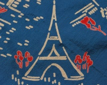 Stunning Rare Retro 1940's Vintage French Paris Crêpe de Chine Silk Scarf  featuring Eiffel Tower,Champs Elysees,Jazz Singers,Music etc