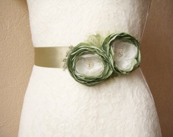 Green Sash, Bridal Belt, Bridesmaid Dress Belt,  Floral Wedding Accessory, Sage green
